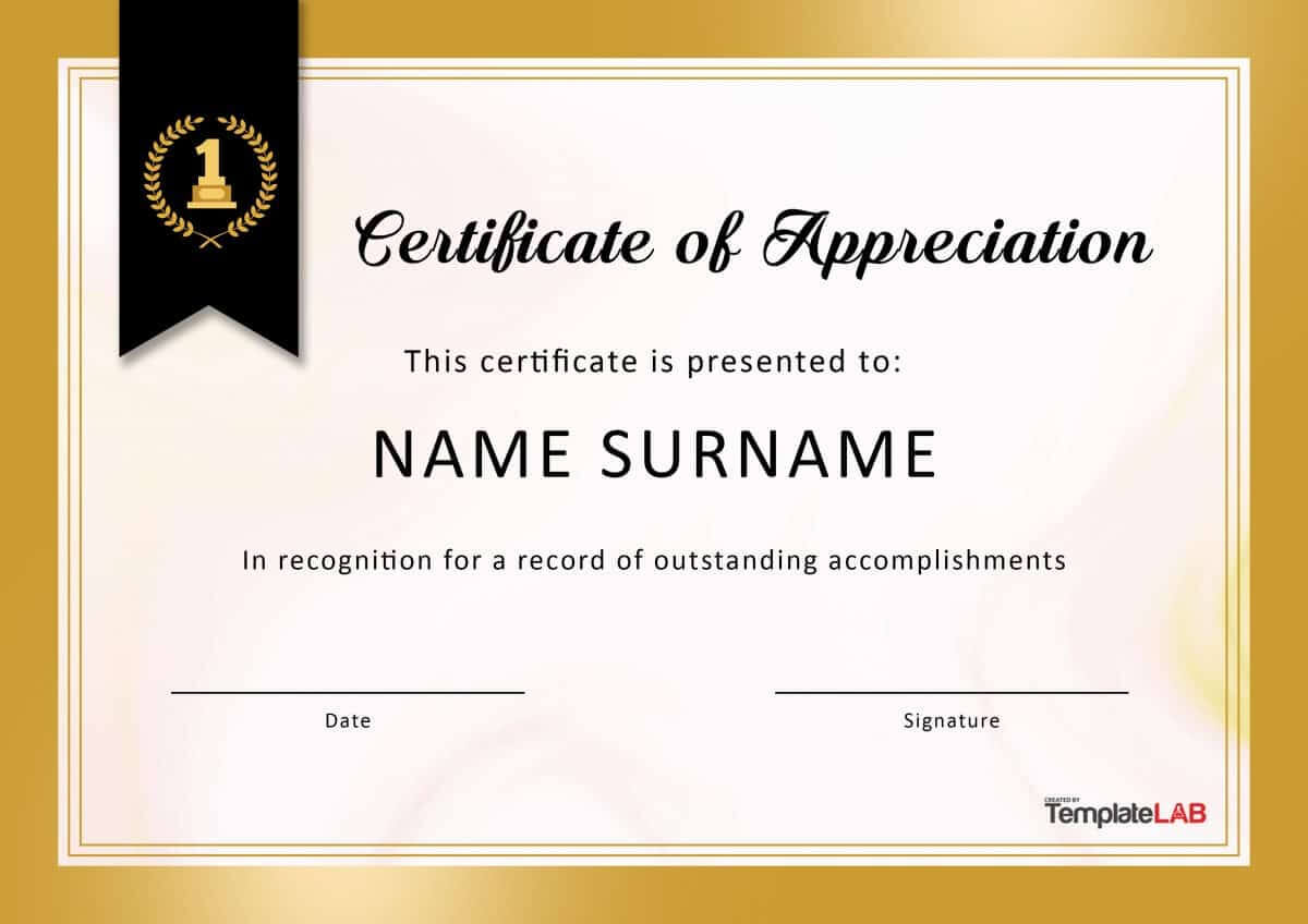 30 Free Certificate Of Appreciation Templates And Letters pertaining to Thanks Certificate Template