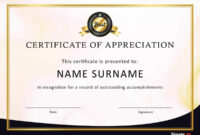 30 Free Certificate Of Appreciation Templates And Letters within Certificate Of Excellence Template Word