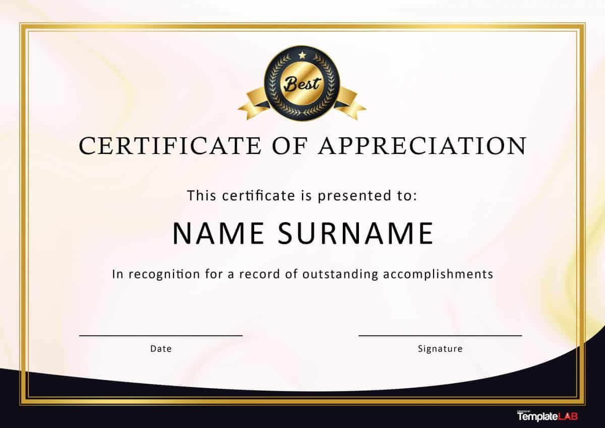 30 Free Certificate Of Appreciation Templates And Letters within Professional Certificate Templates For Word