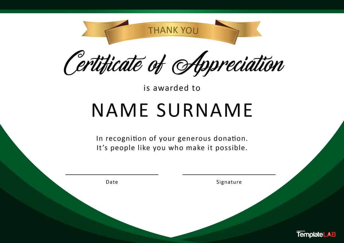 30 Free Certificate Of Appreciation Templates And Letters Within Sample Certificate Of Recognition Template
