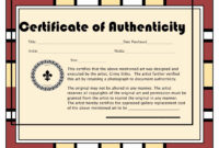 30 Free Certificate Of Authenticity For Artwork Template with Perfect Attendance Certificate Free Template