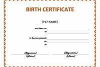 30 Free Pet Birth Certificate Template | Pryncepality Throughout Fake Birth Certificate Template