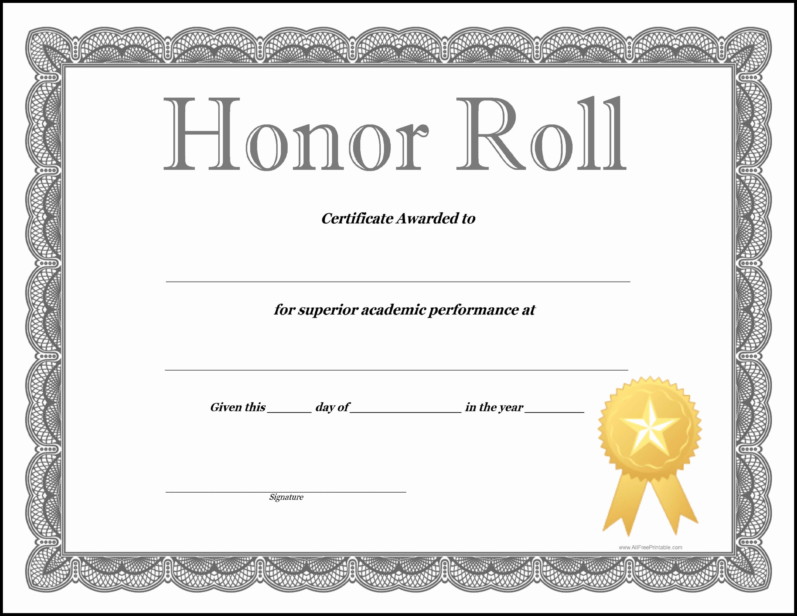 30 Life Saving Award Template | Pryncepality throughout Honor Roll Certificate Template