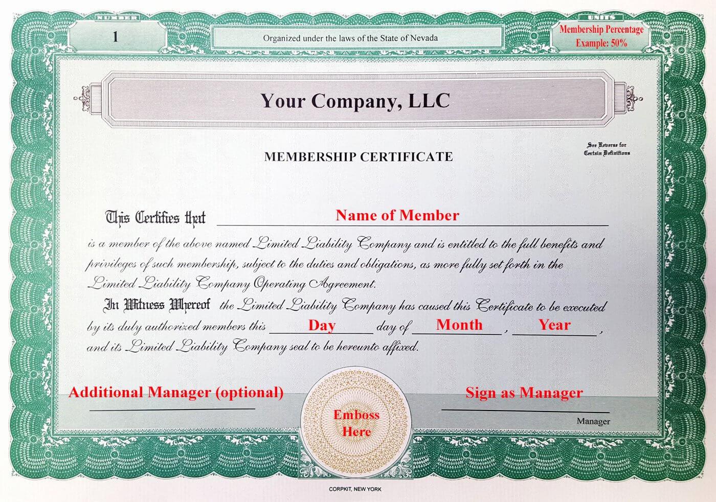 30 Llc Membership Certificate Template   Pryncepality Regarding New Member Certificate Template