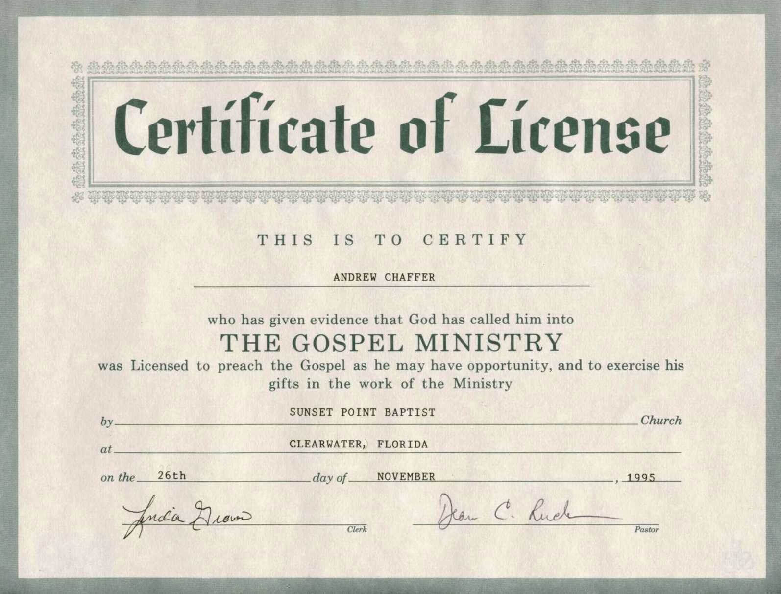 30 Minister License Certificate Template | Pryncepality In Certificate Of License Template