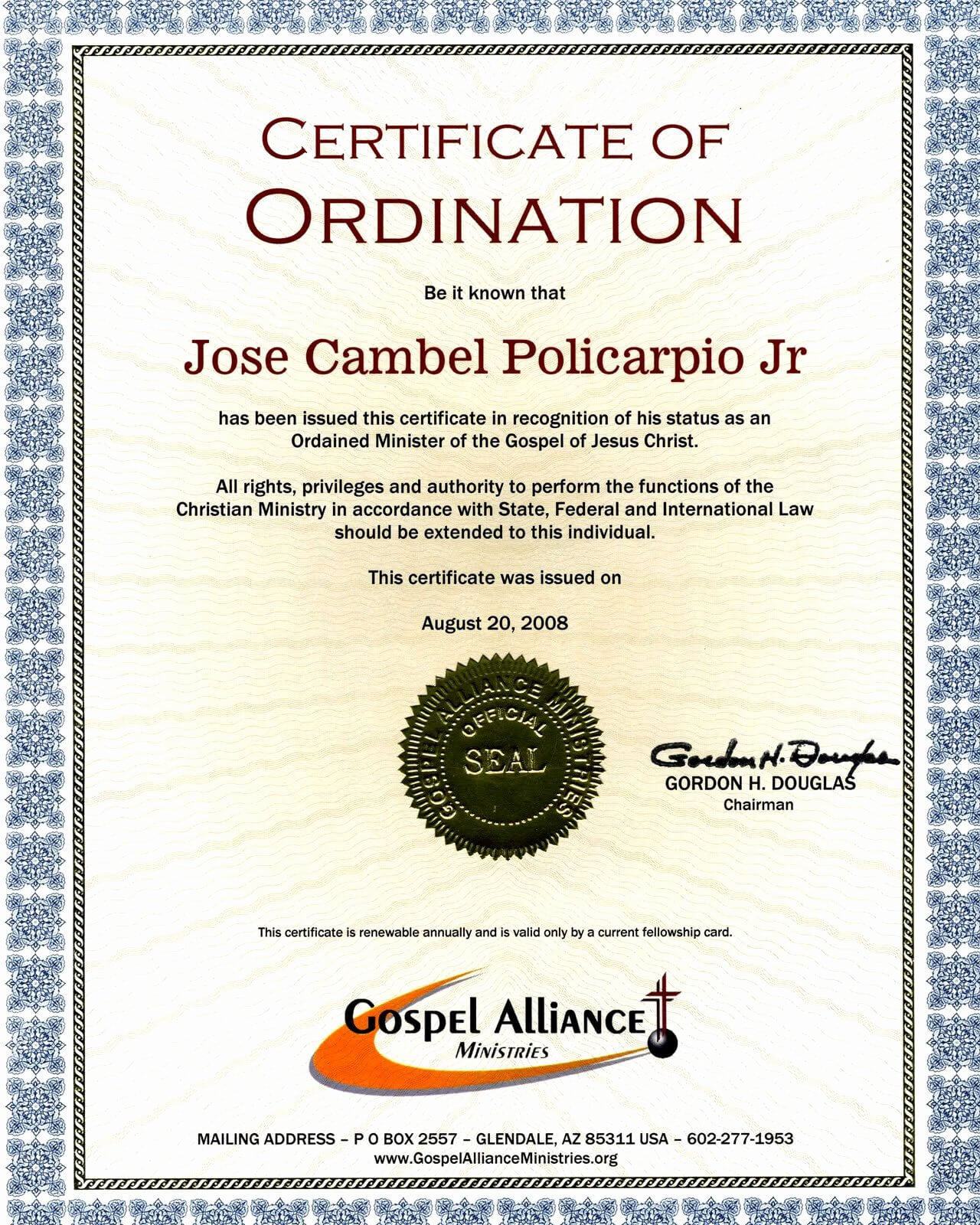 30 Minister Ordination Certificate Template | Pryncepality within Certificate Of Ordination Template
