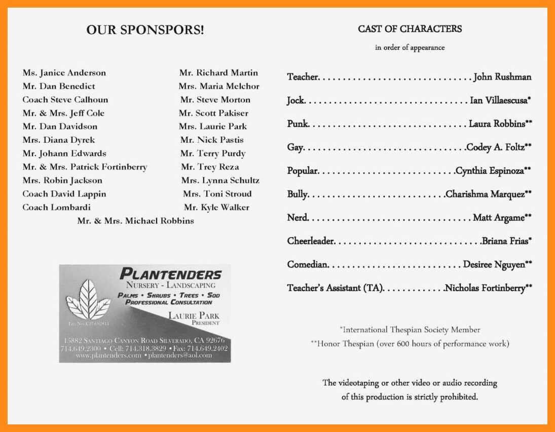 30 Play Program Template Word   Simple Template Design Intended For Playbill Template Word