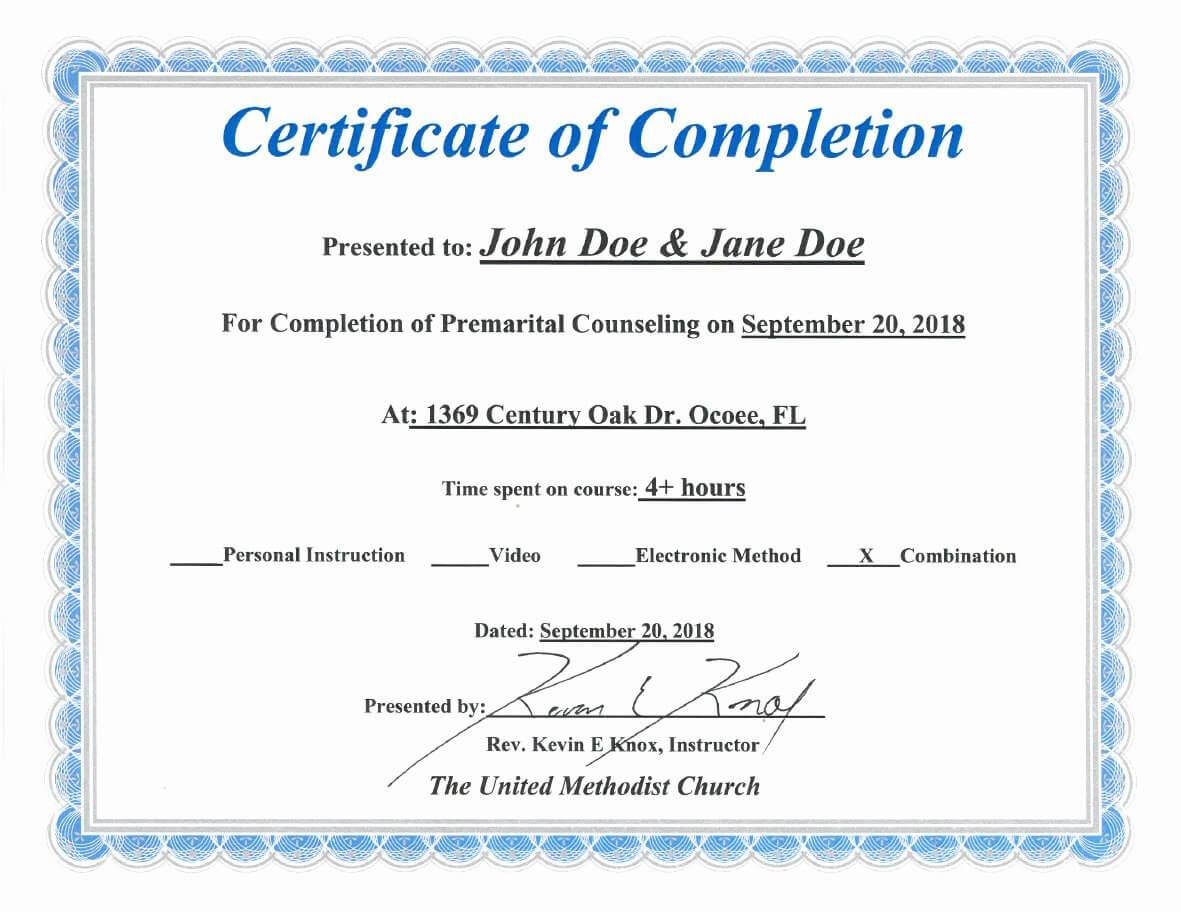 30 Premarital Counseling Certificate Of Completion Template Within Premarital Counseling Certificate Of Completion Template