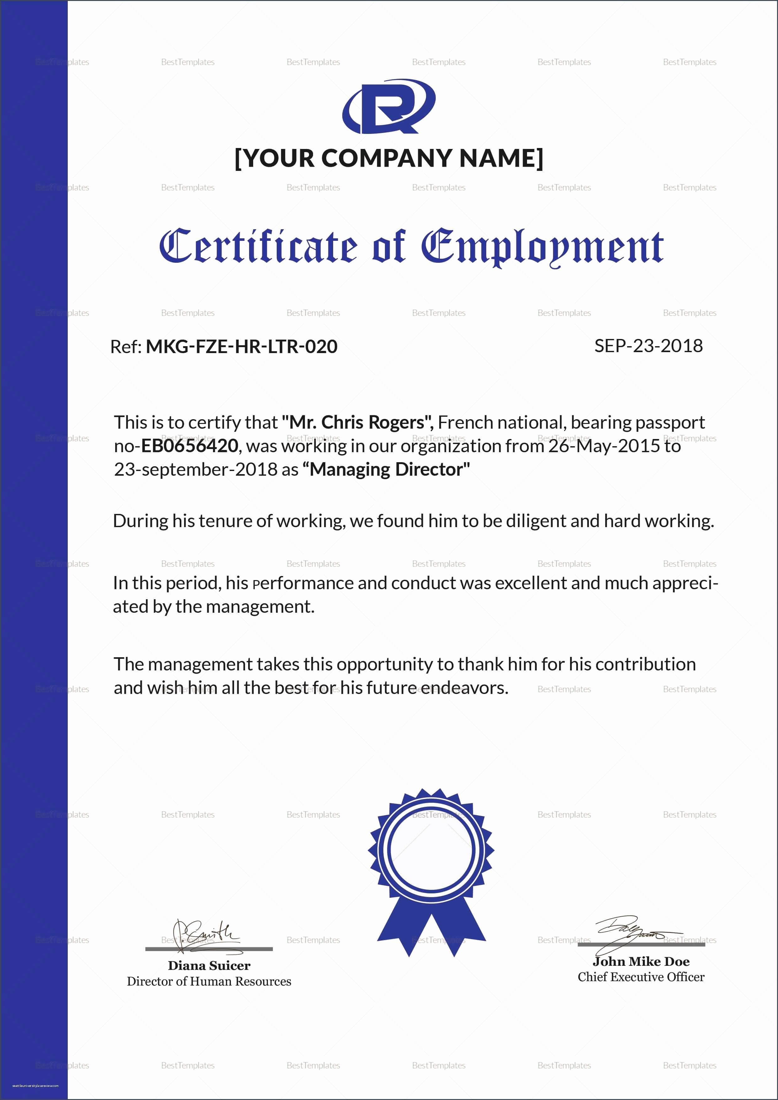 30 Sample Certificate Of Employment | Pryncepality with regard to Template Of Certificate Of Employment