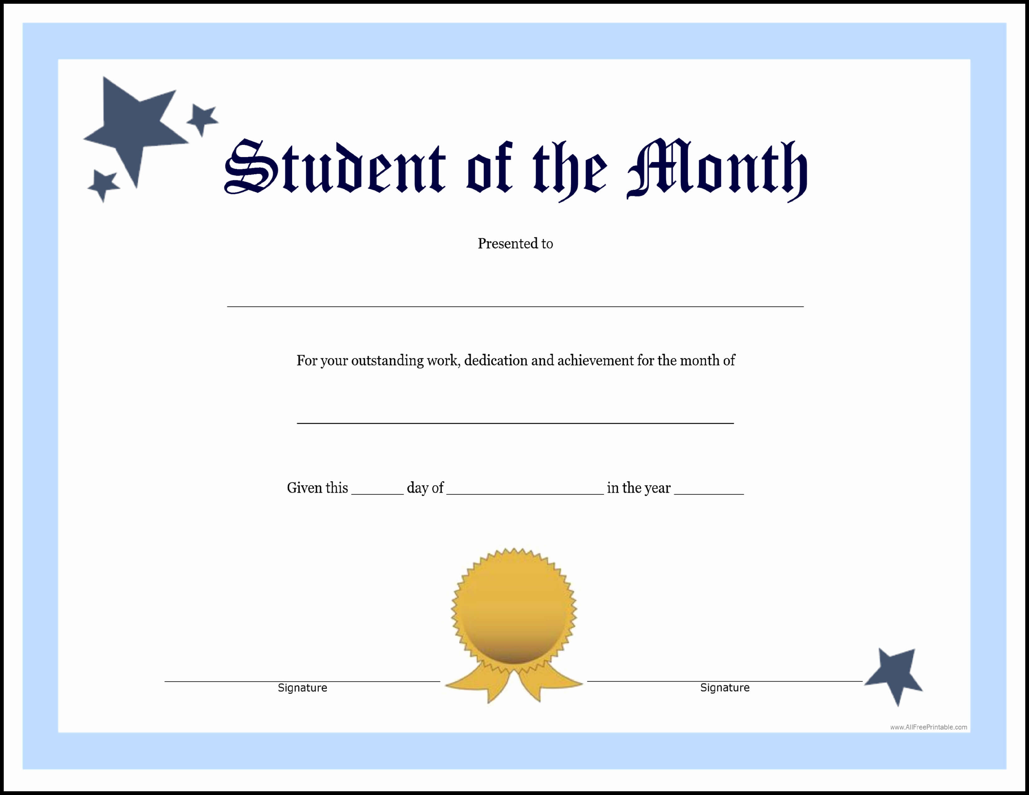 30 Student Of The Month Certificate Template | Pryncepality Within Free Printable Student Of The Month Certificate Templates