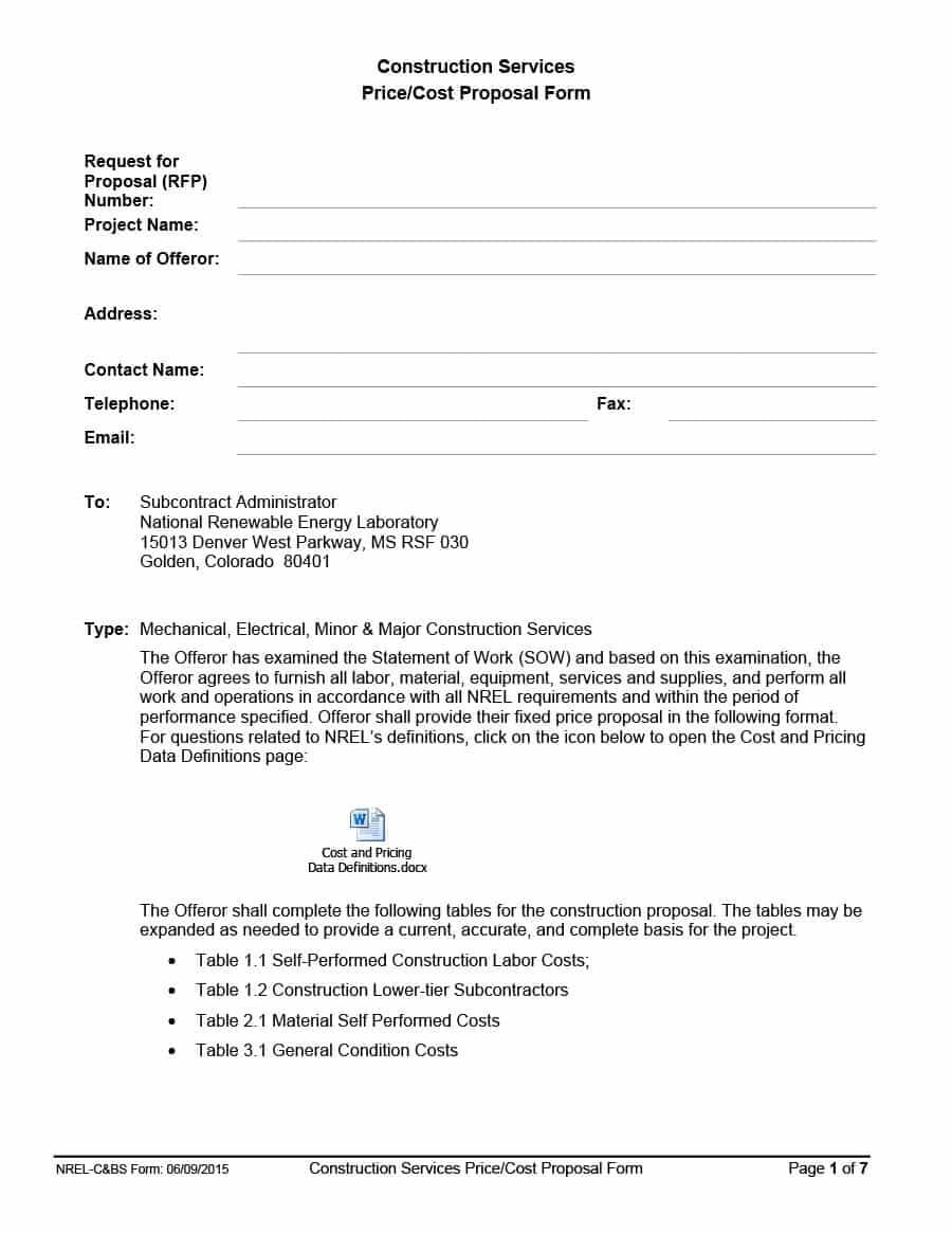 31 Construction Proposal Template & Construction Bid Forms regarding Free Construction Proposal Template Word