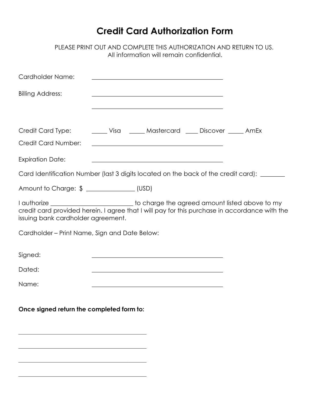 33+ Credit Card Authorization Form Template Download (Pdf, Word) For Credit Card Payment Slip Template
