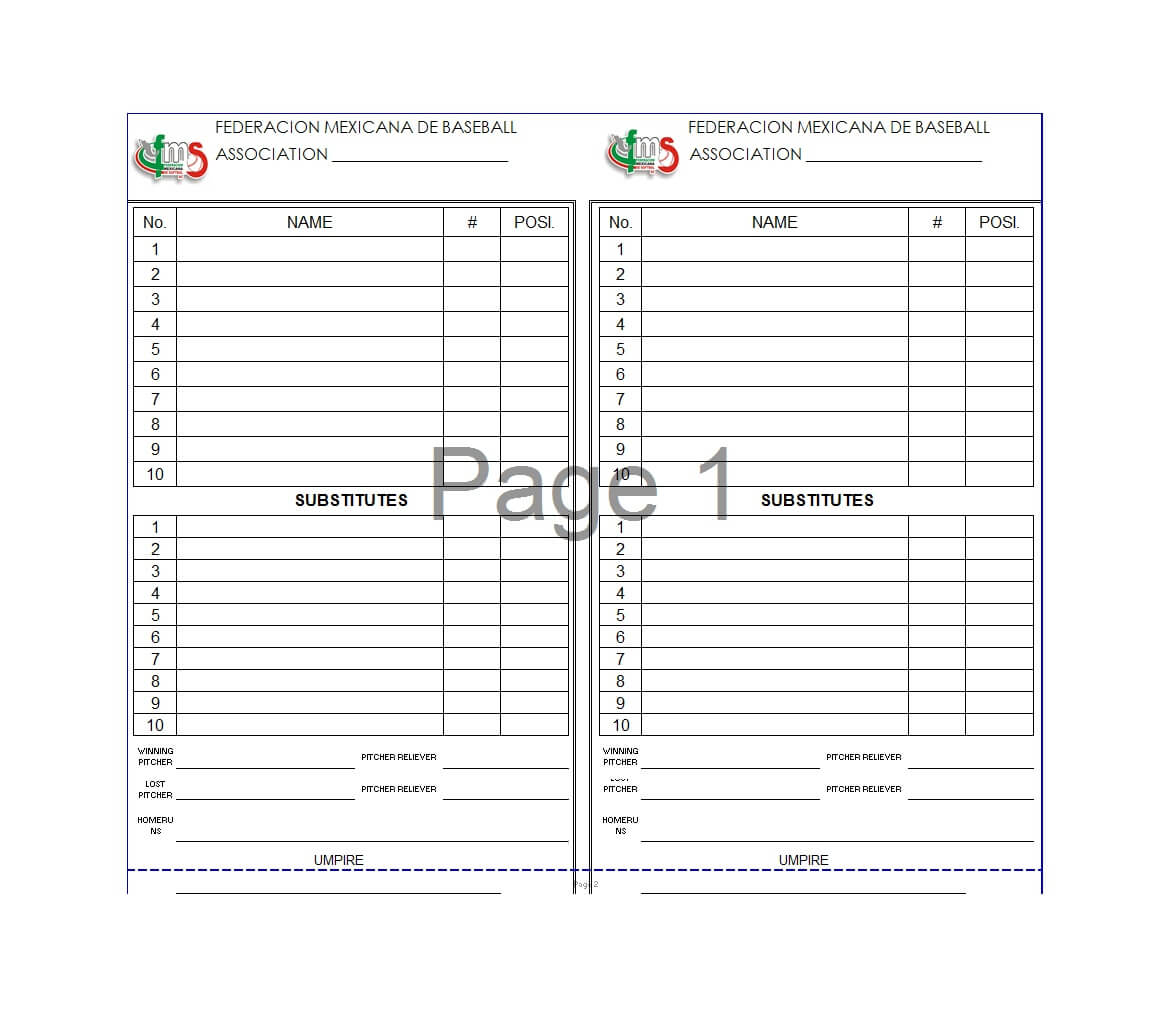 33 Printable Baseball Lineup Templates [Free Download] ᐅ Intended For Baseball Lineup Card Template