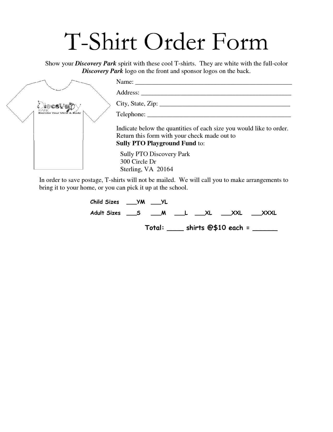 35 Awesome T-Shirt Order Form Template Free Images for Blank Sponsor Form Template Free