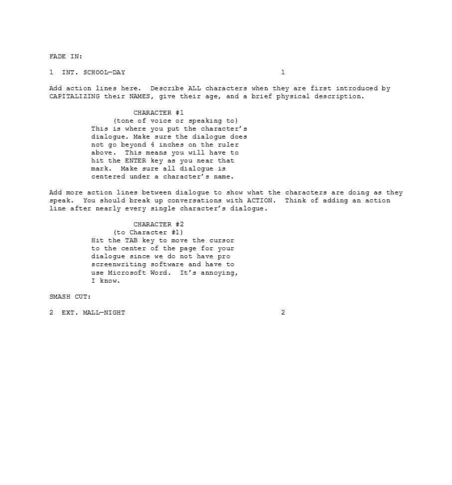 37 Creative Screenplay Templates [& Screenplay Format Guide within Microsoft Word Screenplay Template