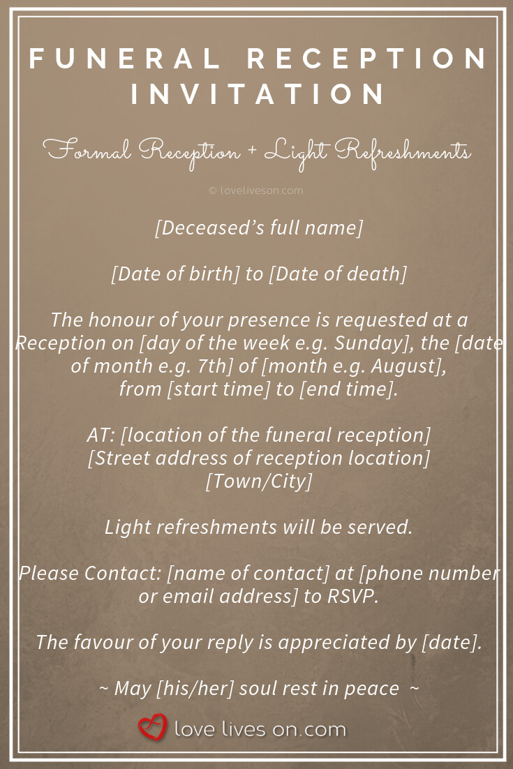 39 Best Funeral Reception Invitations | Funeral Reception In in Funeral Invitation Card Template