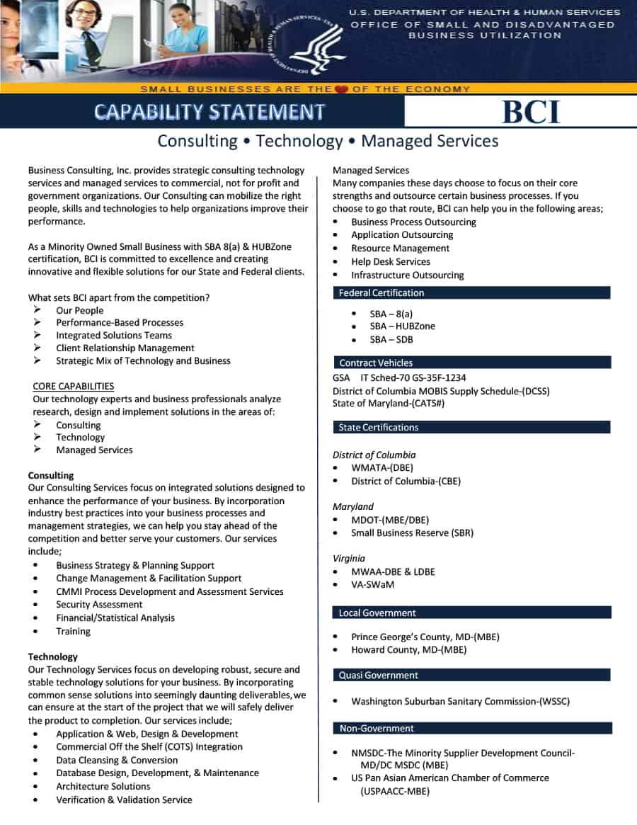 39 Effective Capability Statement Templates (+ Examples) ᐅ Throughout Capability Statement Template Word