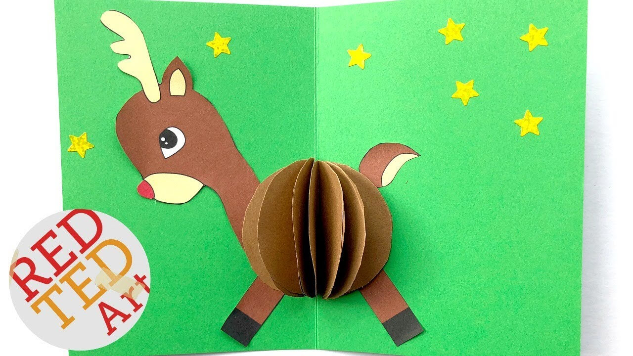 3D Christmas Card Diy - Easy Rudolph Pop Up Card - Templates - Paper Crafts Throughout Diy Christmas Card Templates