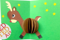 3D Christmas Card Diy – Easy Rudolph Pop Up Card – Templates – Paper Crafts with Diy Pop Up Cards Templates