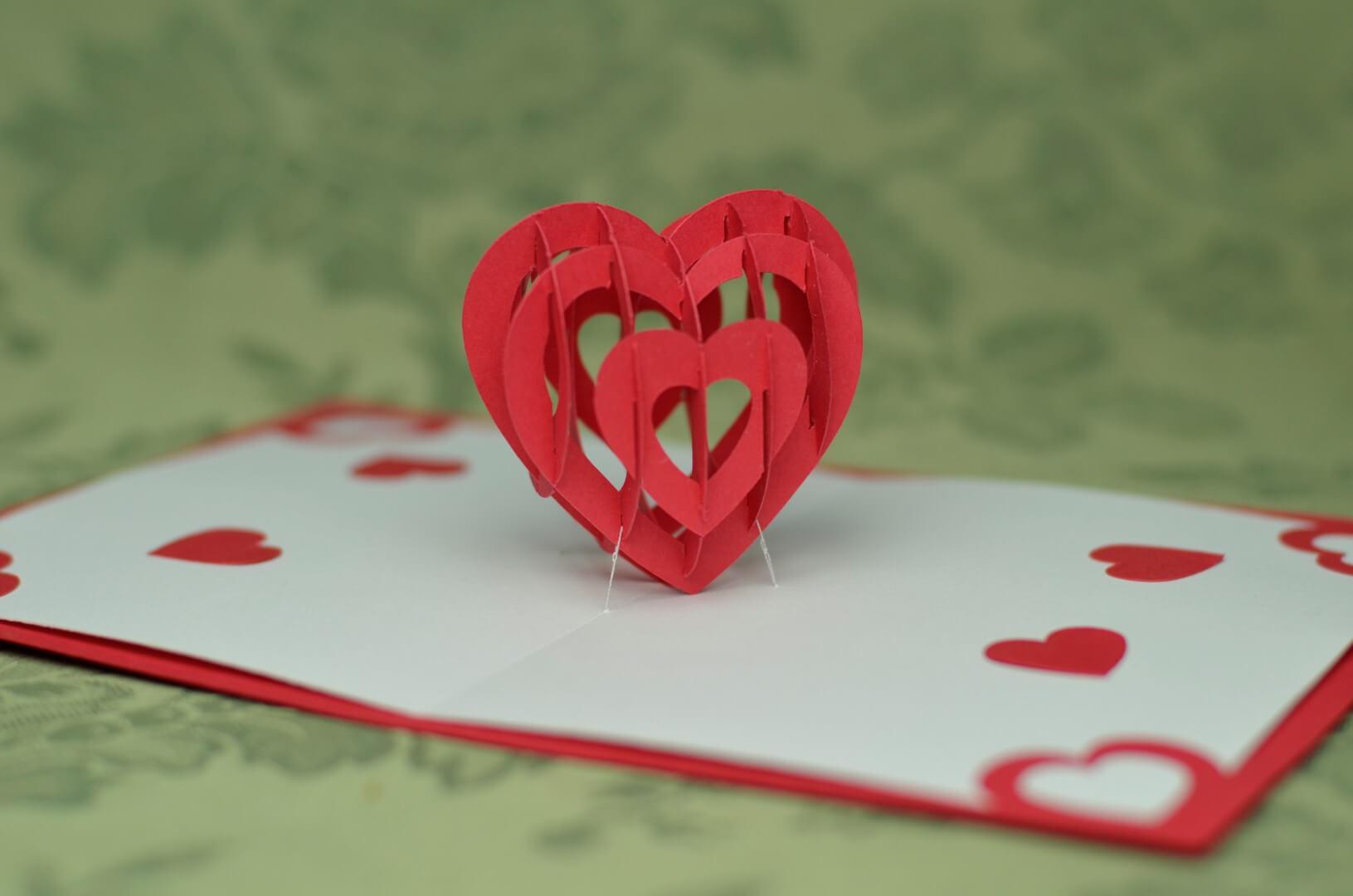 3D Heart Pop Up Card Template throughout Pop Out Heart Card Template