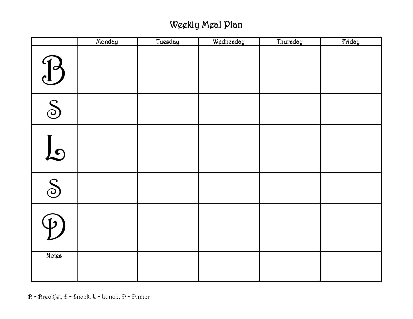 4+ Free Blank Printable Weekly Meal Planner In Pdf & Word Throughout Weekly Meal Planner Template Word