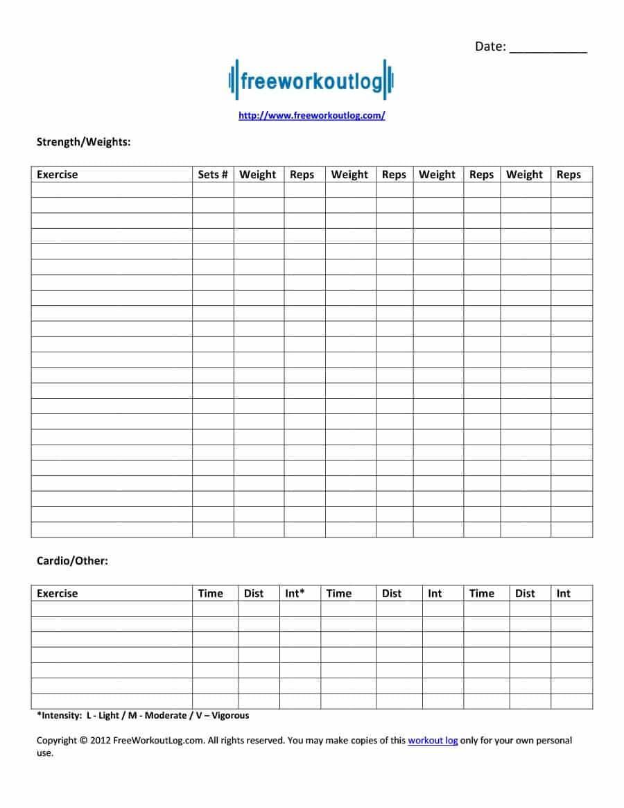 40+ Effective Workout Log & Calendar Templates ᐅ Template Lab regarding Blank Workout Schedule Template