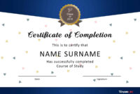 40 Fantastic Certificate Of Completion Templates [Word in Blank Certificate Templates Free Download
