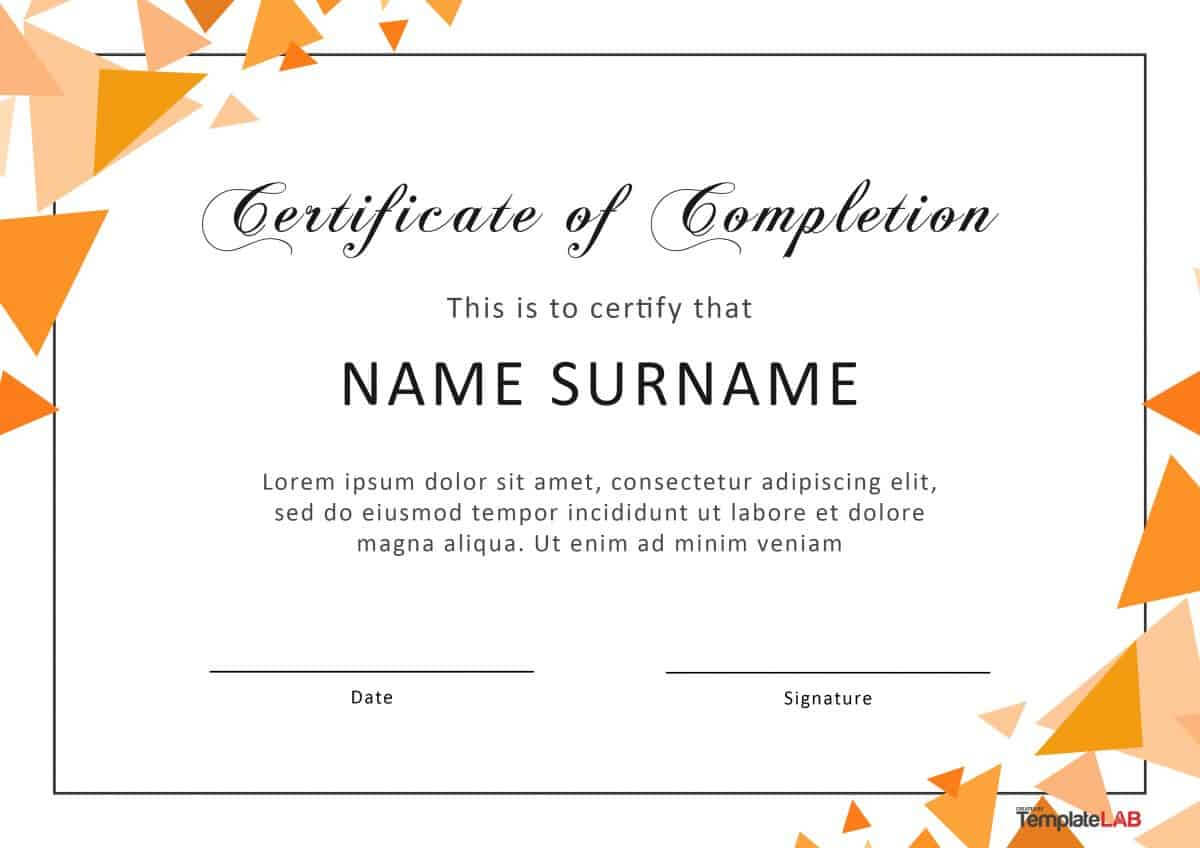 40 Fantastic Certificate Of Completion Templates [Word throughout Certificate Of Achievement Template Word