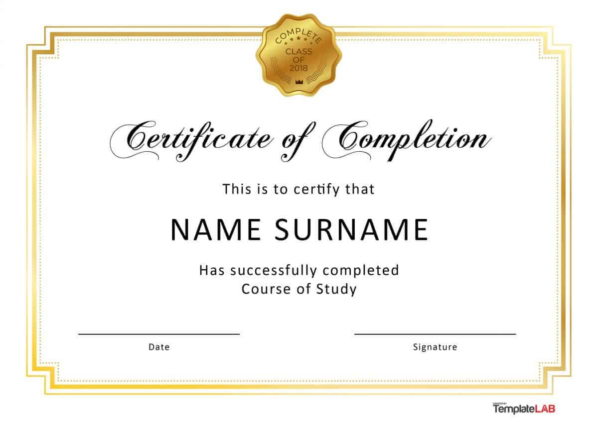 40 Fantastic Certificate Of Completion Templates [Word with Certificate Template For Project Completion