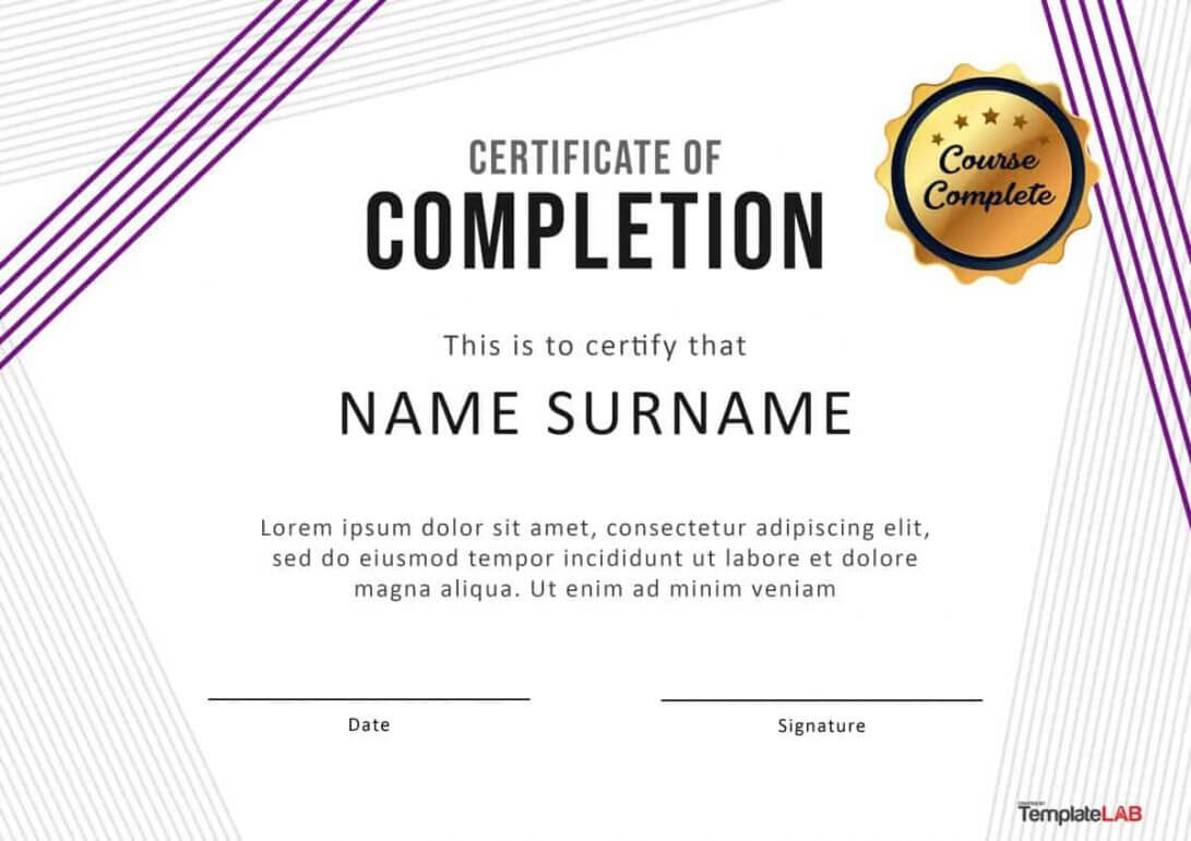 40 Fantastic Certificate Of Completion Templates Word within Training Certificate Template Word Format