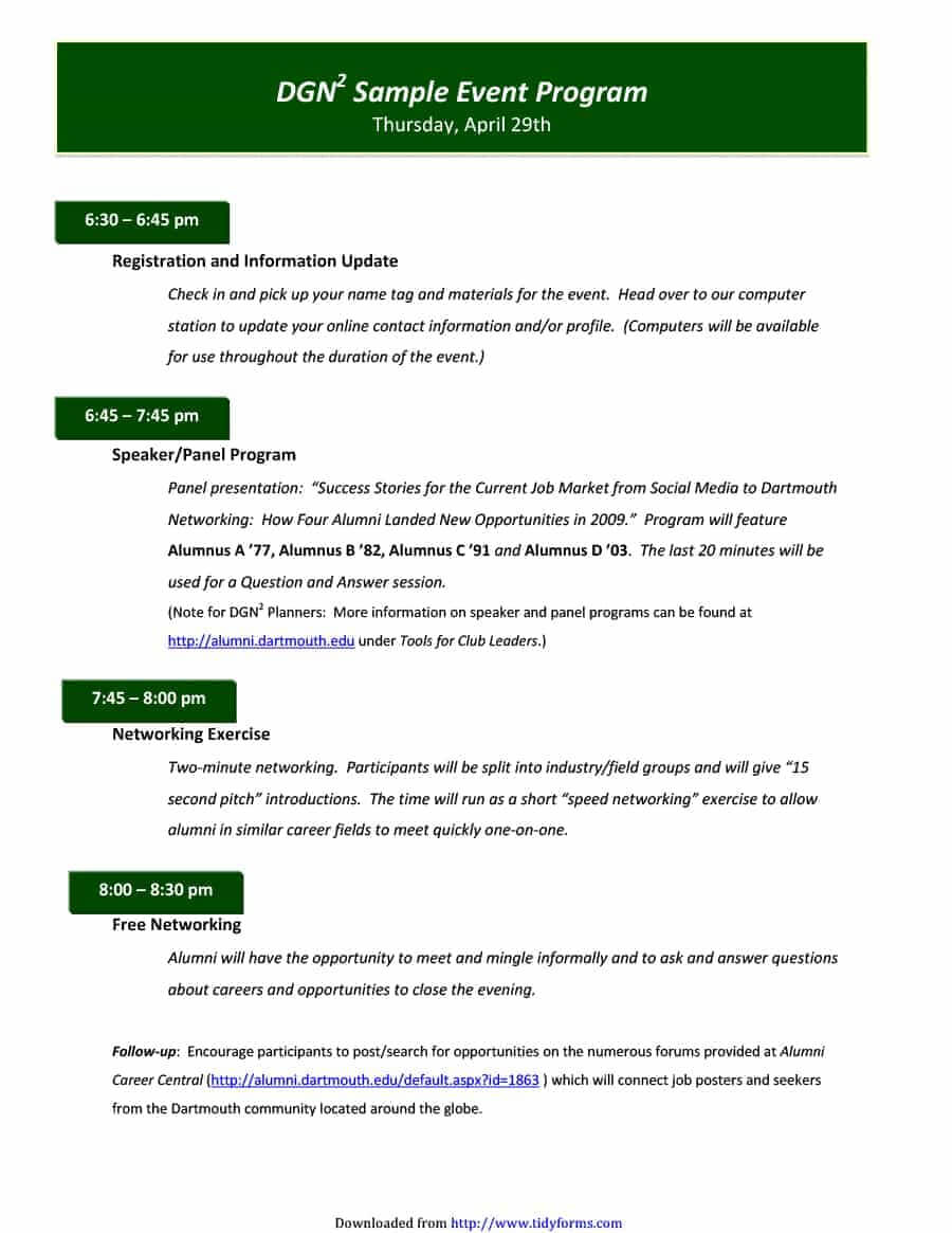 40+ Free Event Program Templates / Designs - Template Archive for Event Agenda Template Word