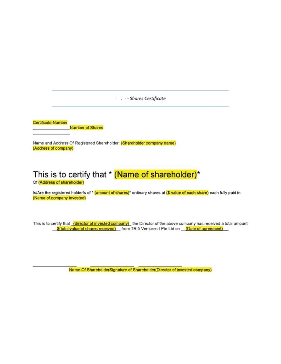 40+ Free Stock Certificate Templates (Word, Pdf) ᐅ Template Lab inside Stock Certificate Template Word