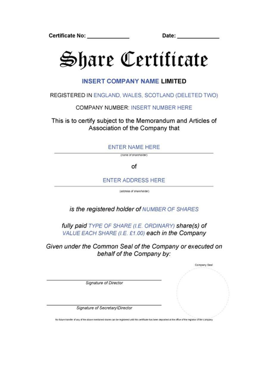 40+ Free Stock Certificate Templates (Word, Pdf) ᐅ Template Lab regarding Corporate Share Certificate Template