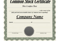 40+ Free Stock Certificate Templates (Word, Pdf) ᐅ Template Lab throughout Corporate Share Certificate Template