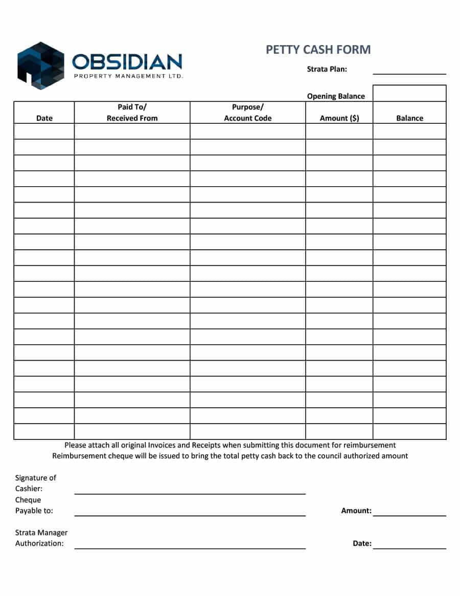 40 Petty Cash Log Templates & Forms [Excel, Pdf, Word] ᐅ with regard to Petty Cash Expense Report Template