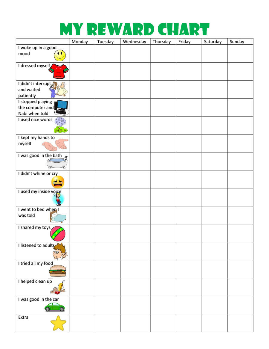 40 Printable Reward Charts For Kids (Pdf, Excel & Word) Pertaining To Reward Chart Template Word