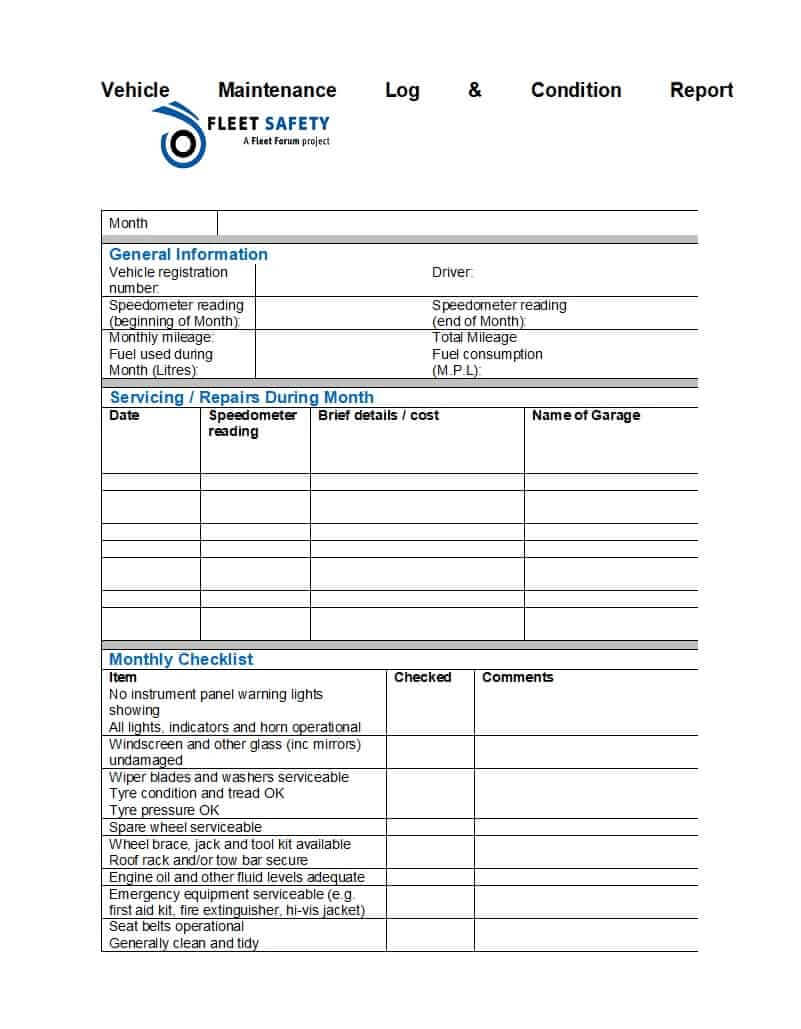 40 Printable Vehicle Maintenance Log Templates ᐅ Template Lab intended for Fleet Report Template