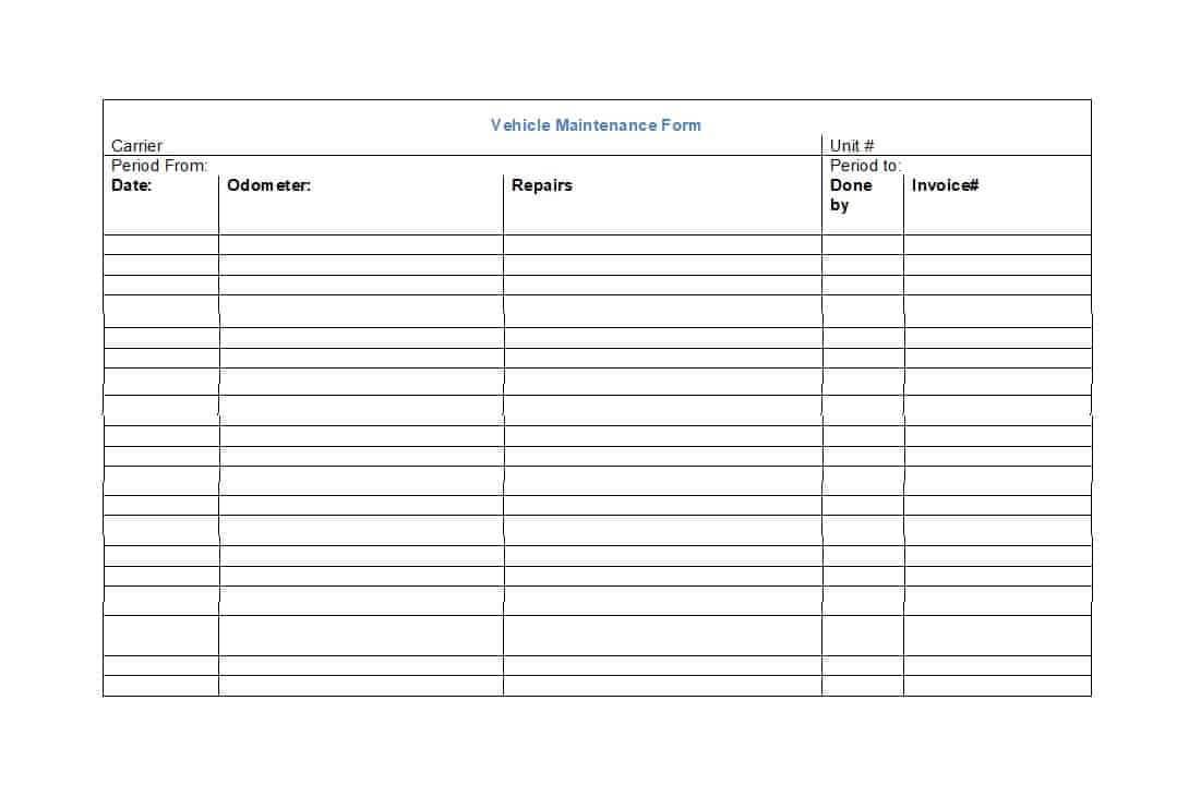 40 Printable Vehicle Maintenance Log Templates ᐅ Template Lab with regard to Fleet Report Template