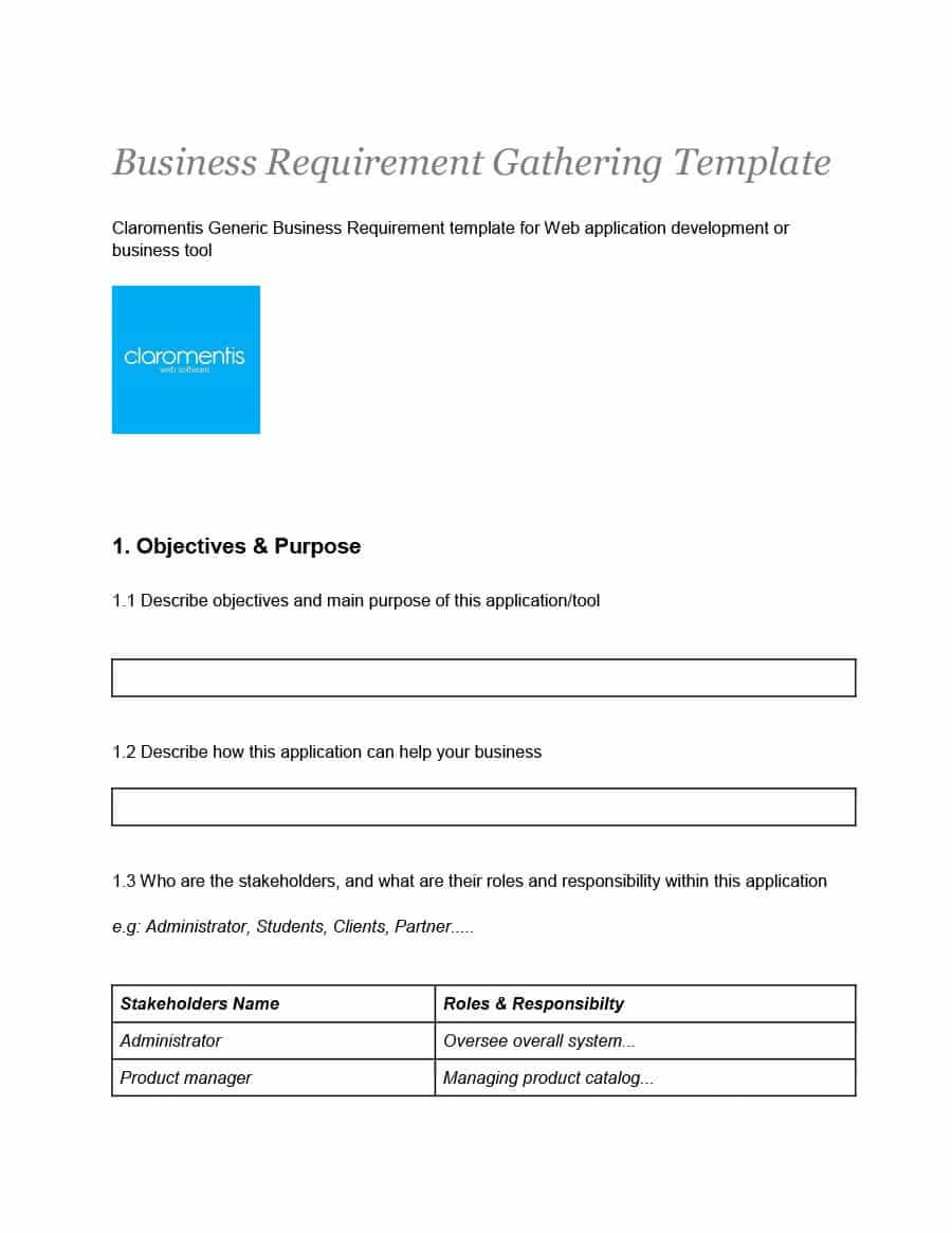 40+ Simple Business Requirements Document Templates ᐅ In Product Requirements Document Template Word