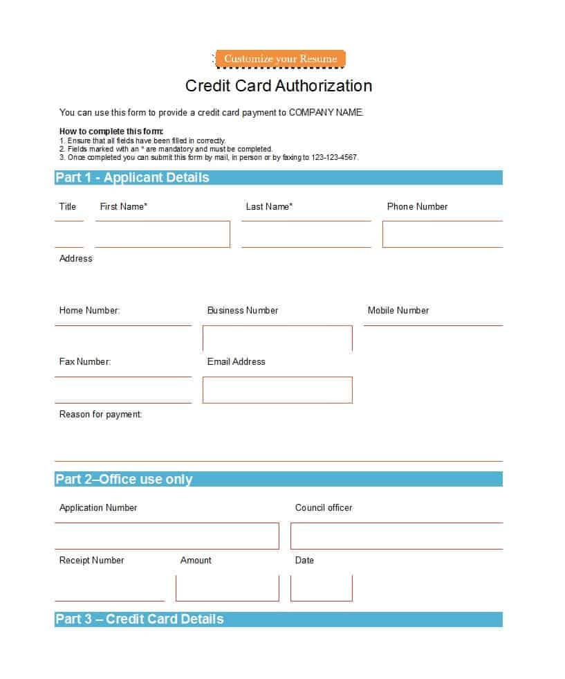 41 Credit Card Authorization Forms Templates {Ready-To-Use} inside Credit Card Templates For Sale