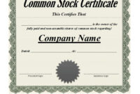 41 Free Stock Certificate Templates (Word, Pdf) – Free in Template For Share Certificate