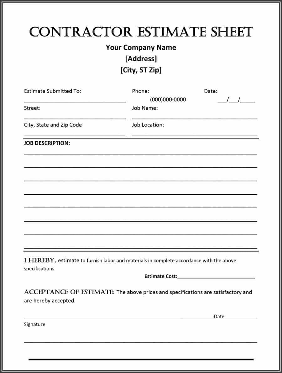 44 Free Estimate Template Forms [Construction, Repair within Work Estimate Template Word