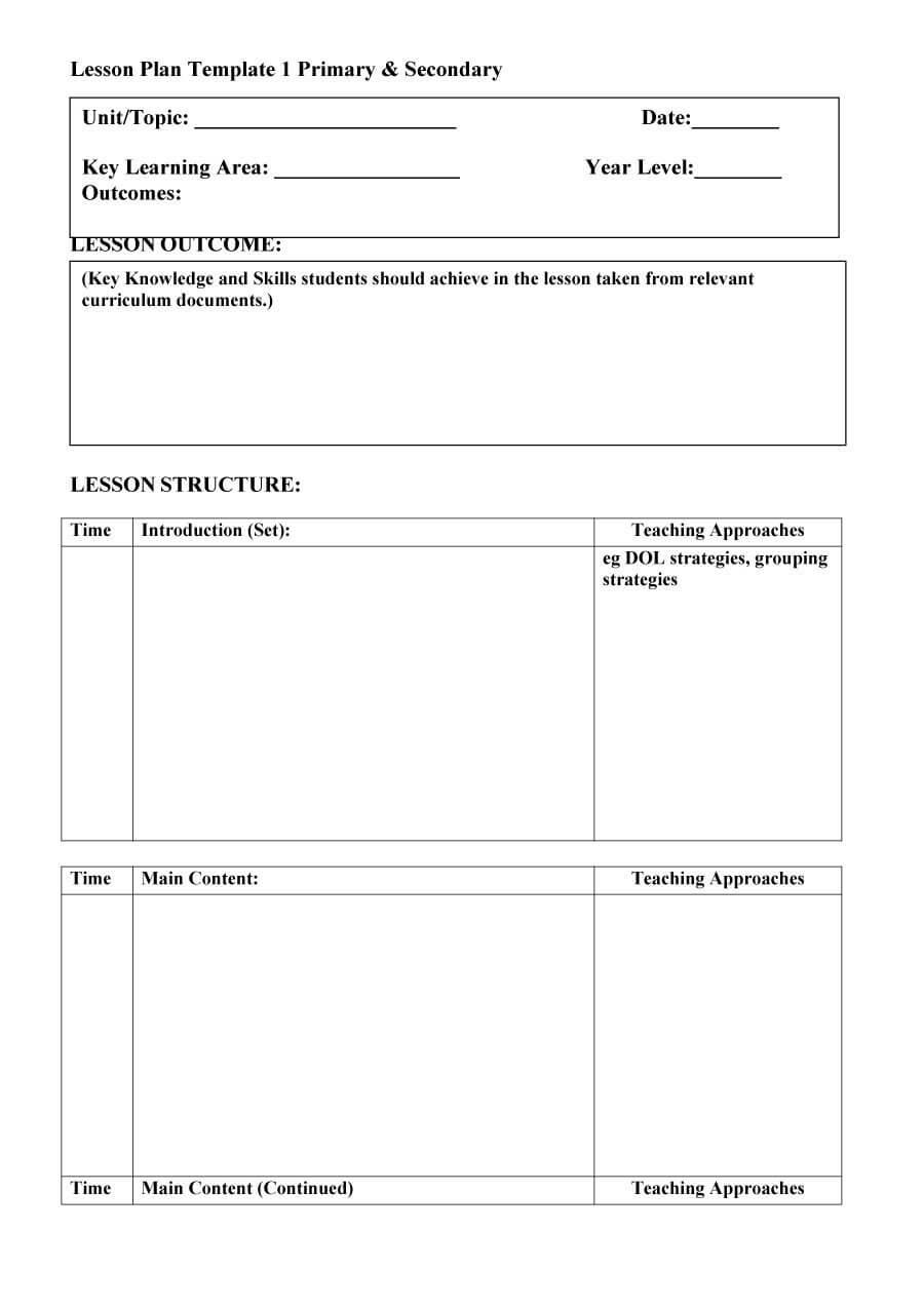 44 Free Lesson Plan Templates [Common Core, Preschool, Weekly] in Blank Preschool Lesson Plan Template
