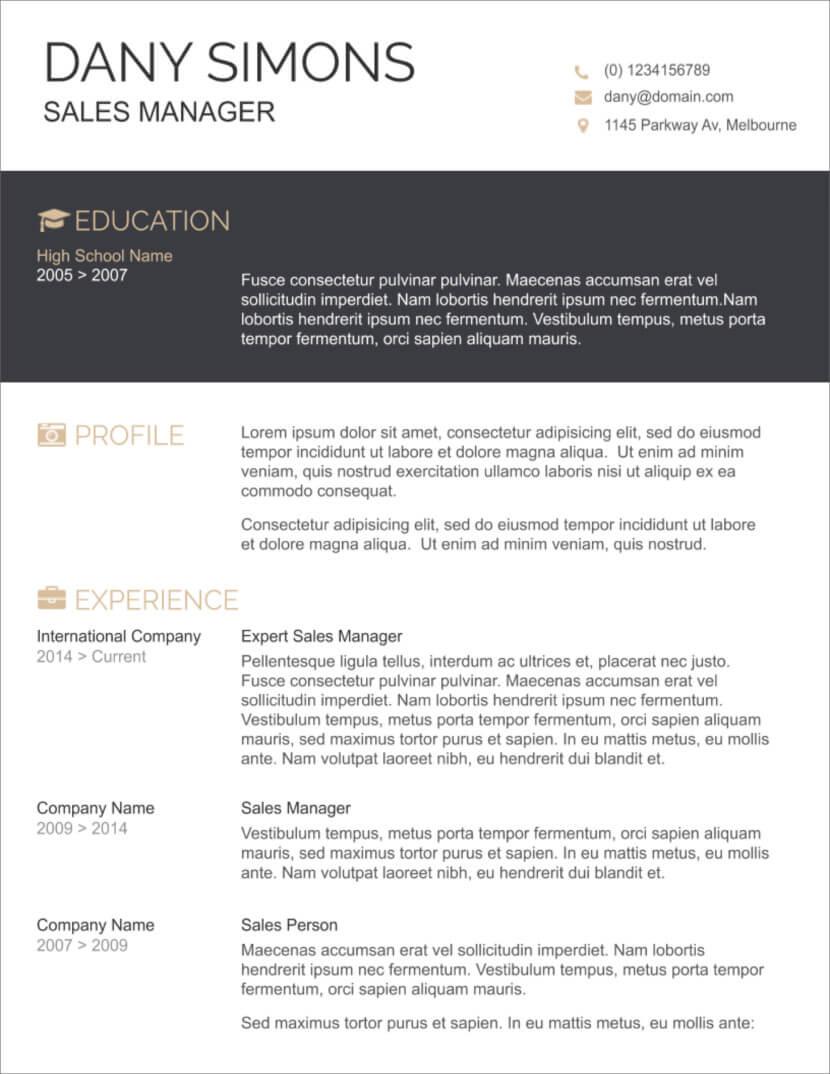 45 Free Modern Resume / Cv Templates - Minimalist, Simple regarding Resume Templates Word 2007