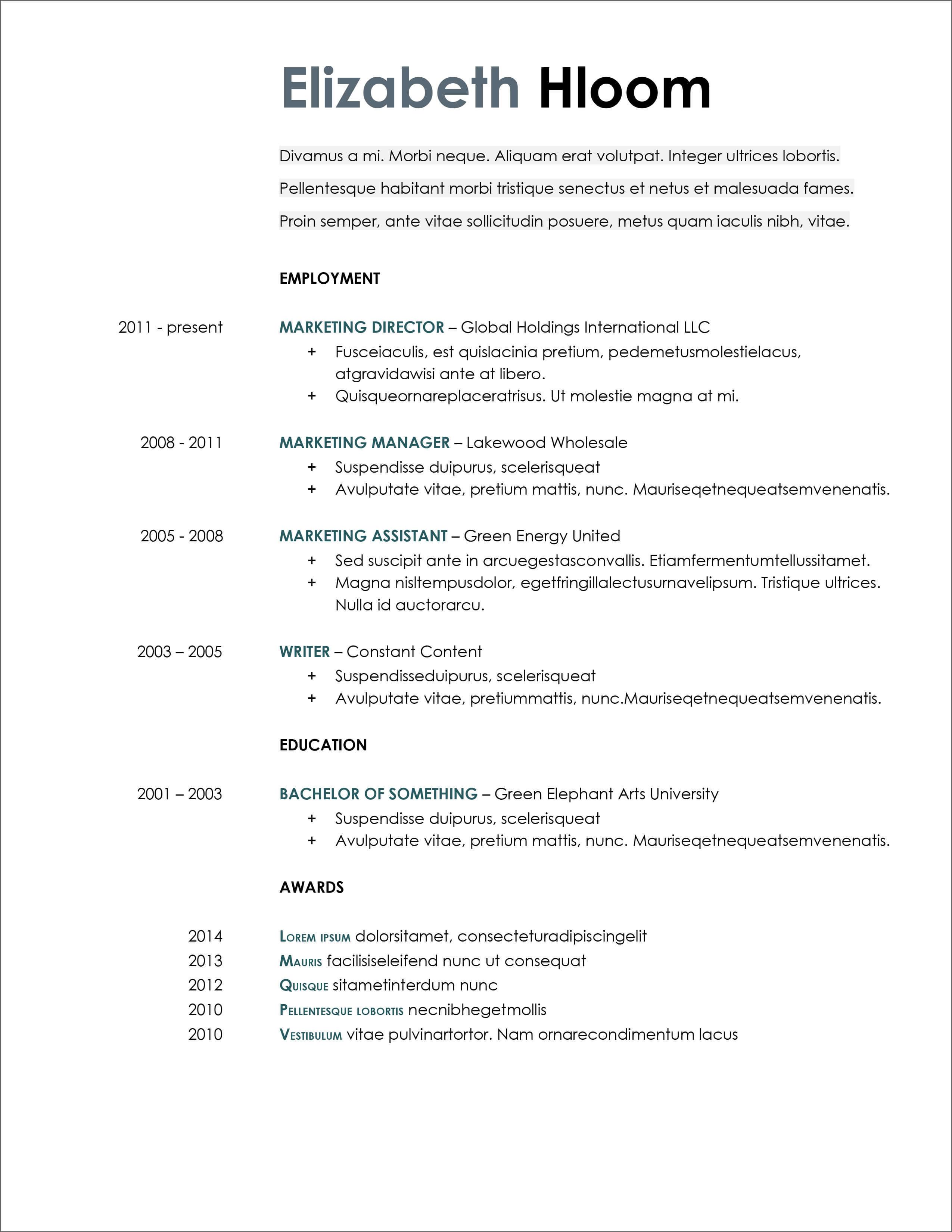 45 Free Modern Resume / Cv Templates - Minimalist, Simple ...