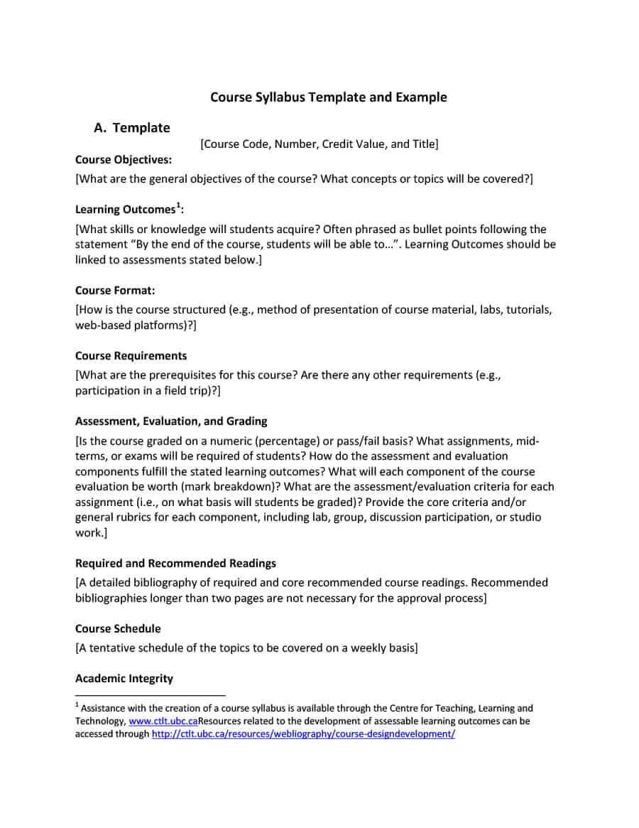 47 Editable Syllabus Templates (Course Syllabus) ᐅ Template Lab Regarding Blank Syllabus Template