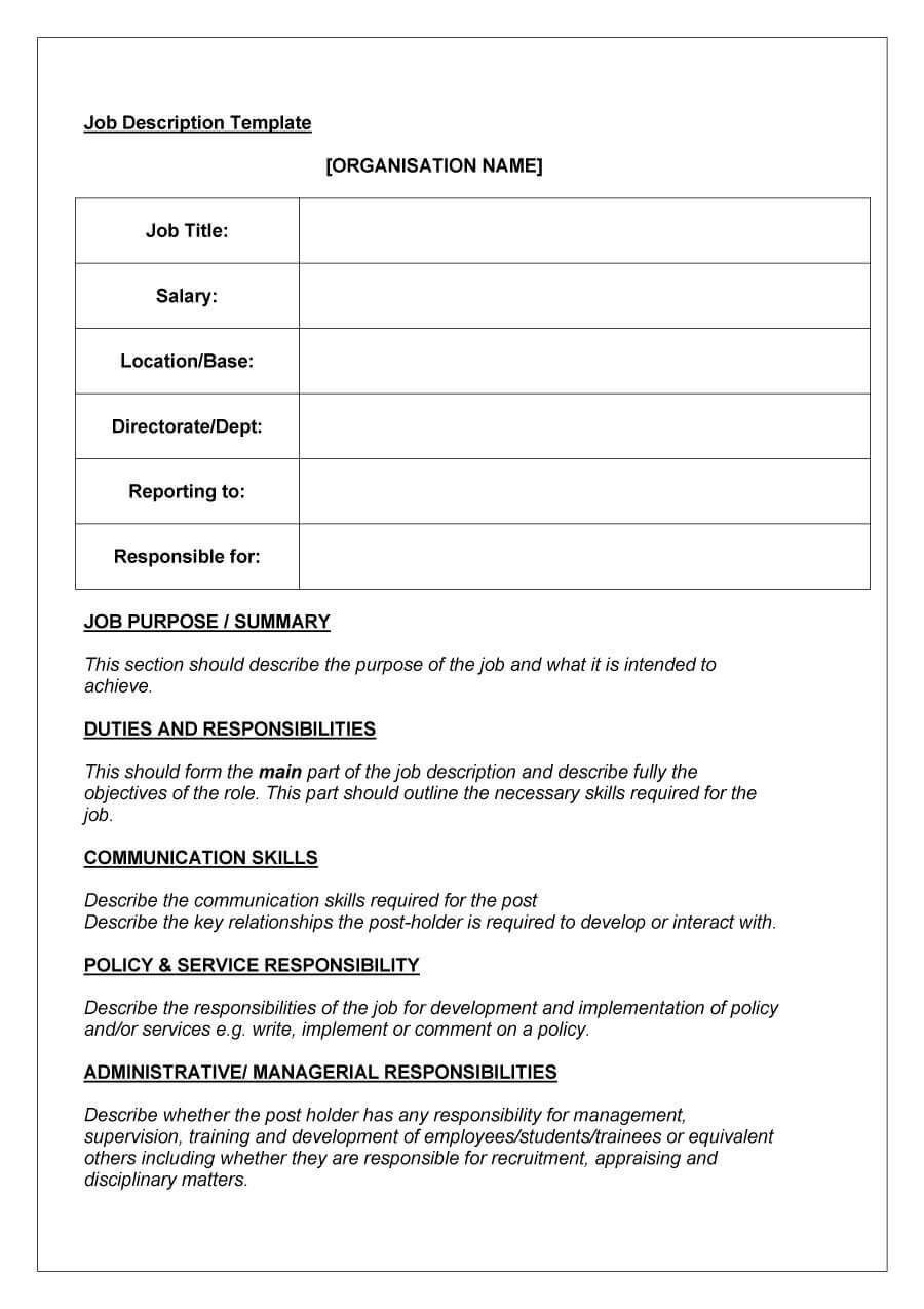 47 Job Description Templates & Examples ᐅ Template Lab For Job Descriptions Template Word