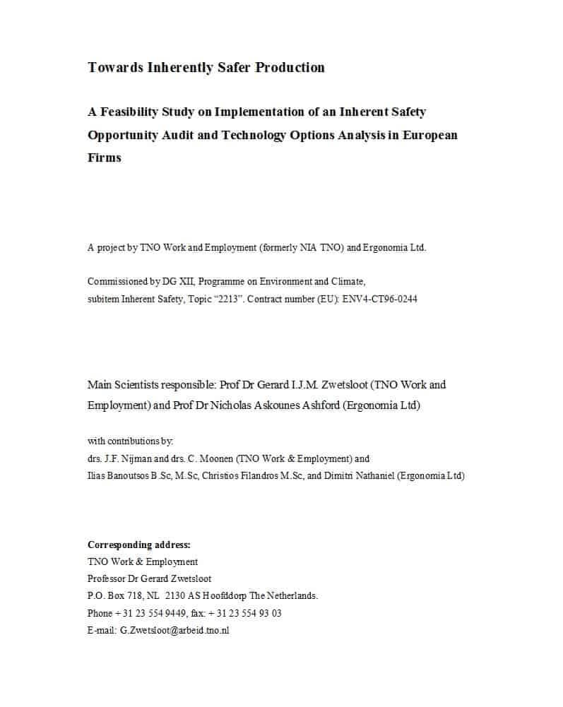 48 Feasibility Study Examples & Templates (100% Free) ᐅ for Technical Feasibility Report Template