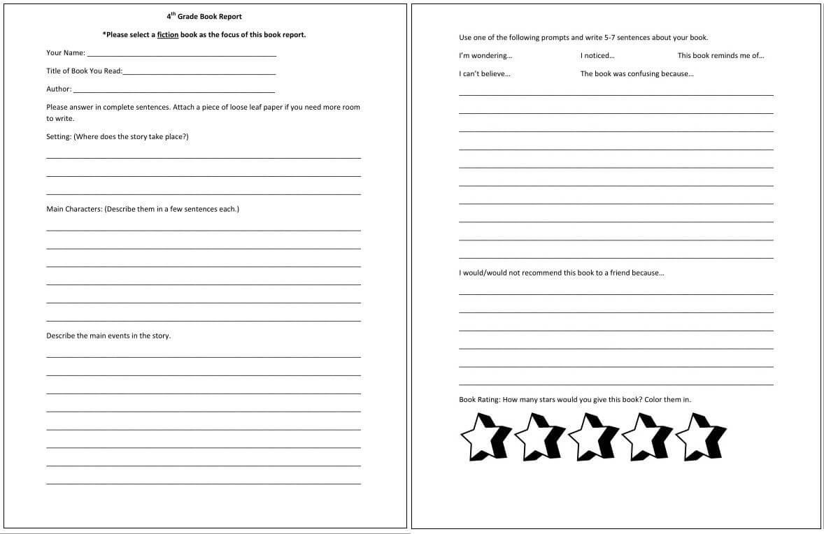 4Th Grade Book Report *pdf Alert* … | 4Th Grade Books, Book within Book Report Template 4Th Grade