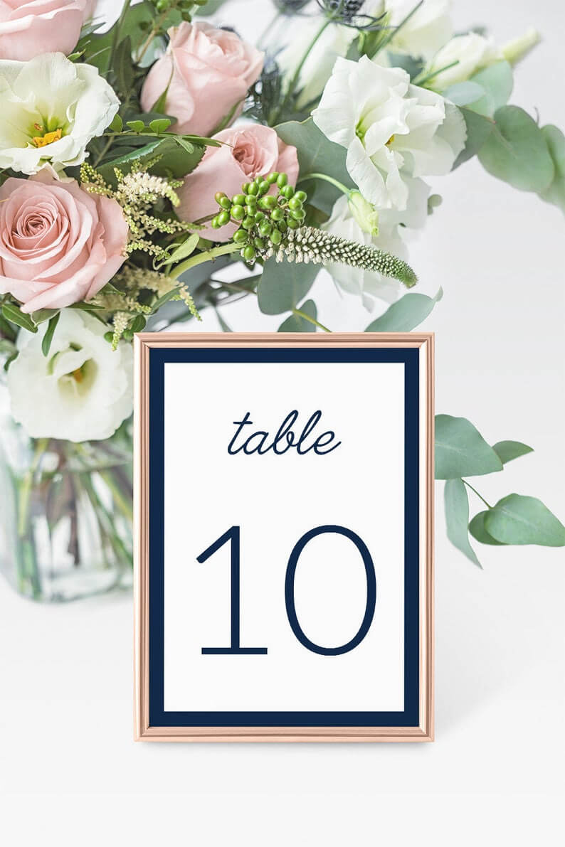 4X6 Navy Wedding Table Number Cards Templates Instant Download, Bridal  Shower, Editable Navy Table Numbers Place Cards Templates - Idb012K intended for Table Number Cards Template
